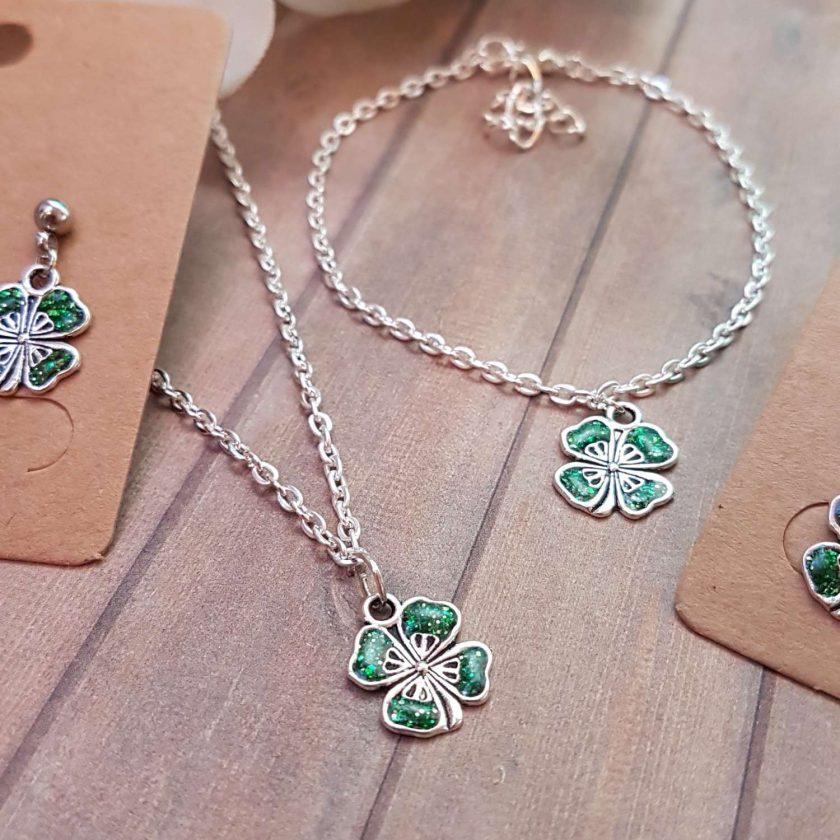- Clover Shamrock Lucky Pendant Necklace, Earrings, Bracelet, Jewellery (Priced Individually) 1