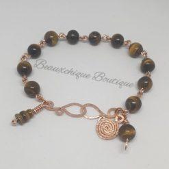 Tigerseye Bracelet - Copper Link Bracelet 6