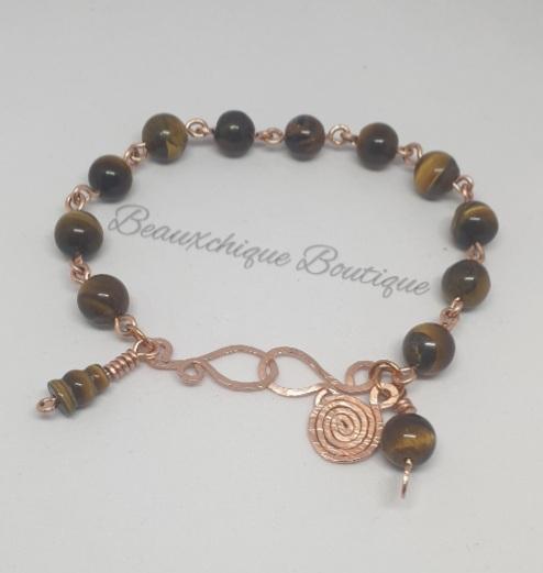 Tigerseye Bracelet - Copper Link Bracelet 2