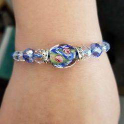 Blue Floral Crystal Bracelet
