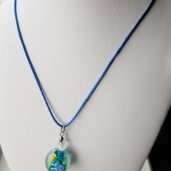 Blue Floral Glass Pendent Necklace