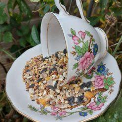 """Vintage teacup bird feeder """"Maisy"""""""