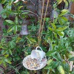 """Vintage teacup bird feeder """"Dotty"""" 3"""