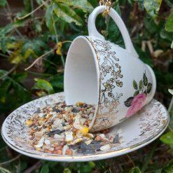 """Vintage teacup bird feeder """"Dotty"""" 4"""
