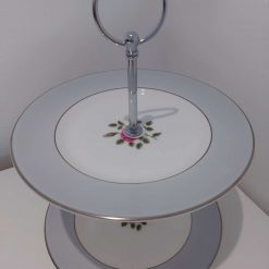 Vintage tier grey cake stand.