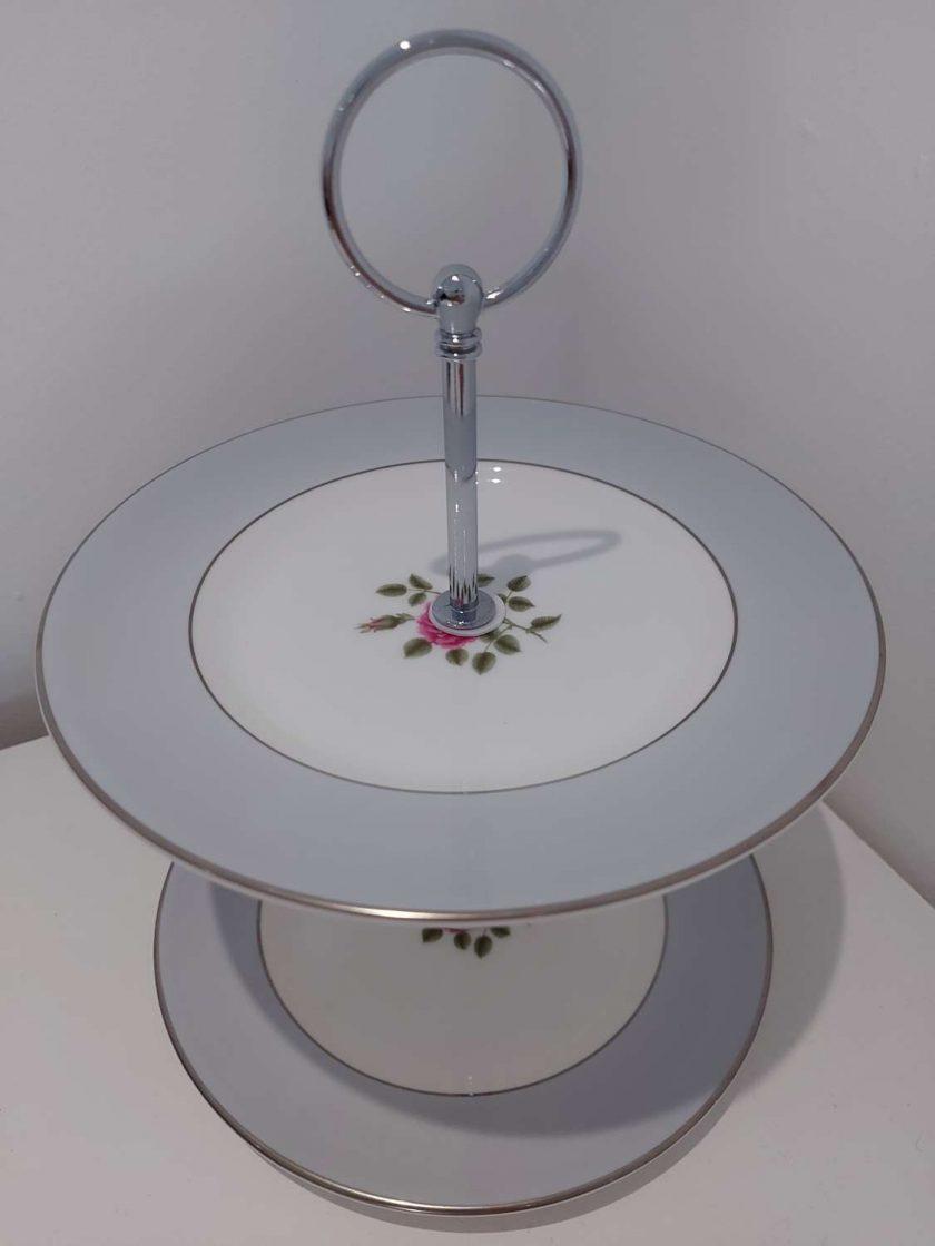 Vintage tier grey cake stand.