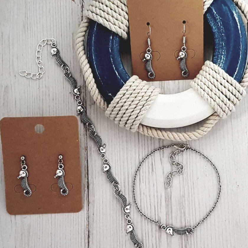 -Coastal Seahorse Earrings, Bracelet, Jewellery Gift Set Collection 1