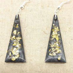 Black and Gold Resin Earrings