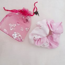 Hair scrunchie Pink and white polka dots  print in an organza gift bag with a fairy charm.