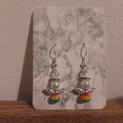 Rainbow guardian angel earrings