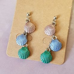 'Ocean' Shimmering Shell Earrings   Tibetan Silver Charm Birthday Christmas Mothers Mother's Day Valentine Anniversary Easter Jewellery Gifts Sea Beach Coastal Gift Ideas