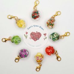 Fruity tutti glass ball stitch marker for crochet and knitting