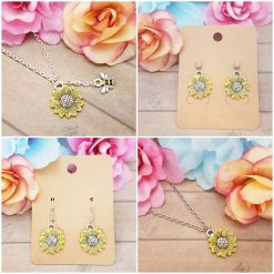 -Individually Priced- Sunflower, Necklace, Earrings JewellerySet | Tibetan Silver Charm Birthday Christmas Mothers Mother's Day Valentine Anniversary Easter Gifts Sunflowers Gift Set Ideas