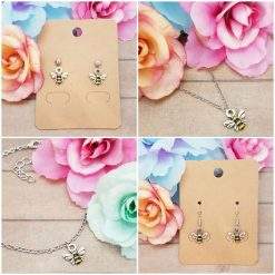 -Individually Priced- Dainty Bee Earrings, Bracelet, Necklace Jewellery | Tibetan Silver Charm Birthday Christmas Mothers Mother's Day Valentine Anniversary Easter Gifts Bees Gift Set Ideas