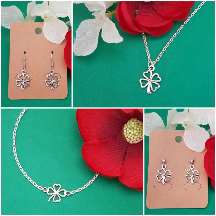 -Individually Priced- Clover Irish Shamrock Lucky Pendant Necklace, Earrings, Bracelet, Jewellery Set | Birthday Christmas Mothers Mother's Day Valentine Anniversary Easter Good Luck St. Saint Patricks Patrick's Gift Set Ideas