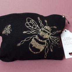 Black cotton hand printed make-up bag