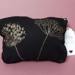 Black cotton hand printed make up bag