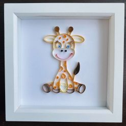 Cute quilled Giraffe – framed quilling art, nursery/bedroom decor- can be personalised