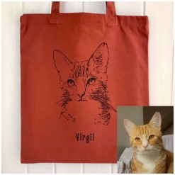 Personalised organic cotton tote bag with image of your own pet with charity donation 2
