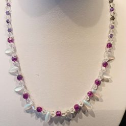 Elegant purple and white necklace with opalescent dagger beads