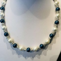 Blue, white and silver pearly necklace