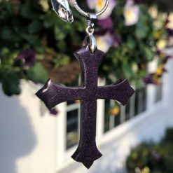 Handmade purple crucifix cross pendant on solid silver chain