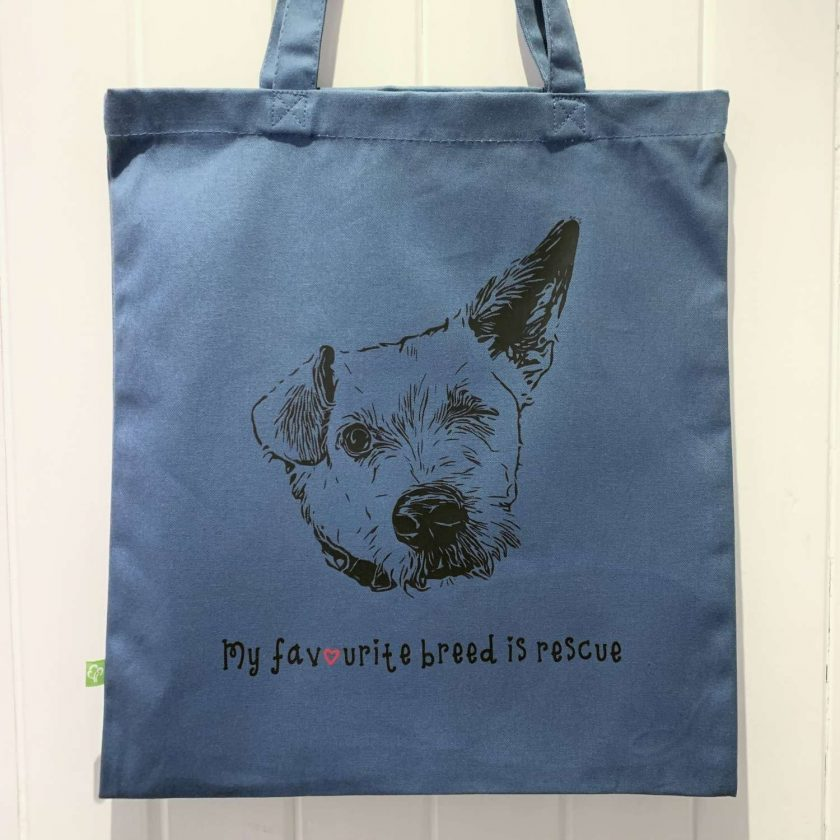 Personalised organic cotton tote bag with image of your own pet with charity donation