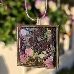 Unique handmade purple resin pendant, in a square setting with solid silver chain