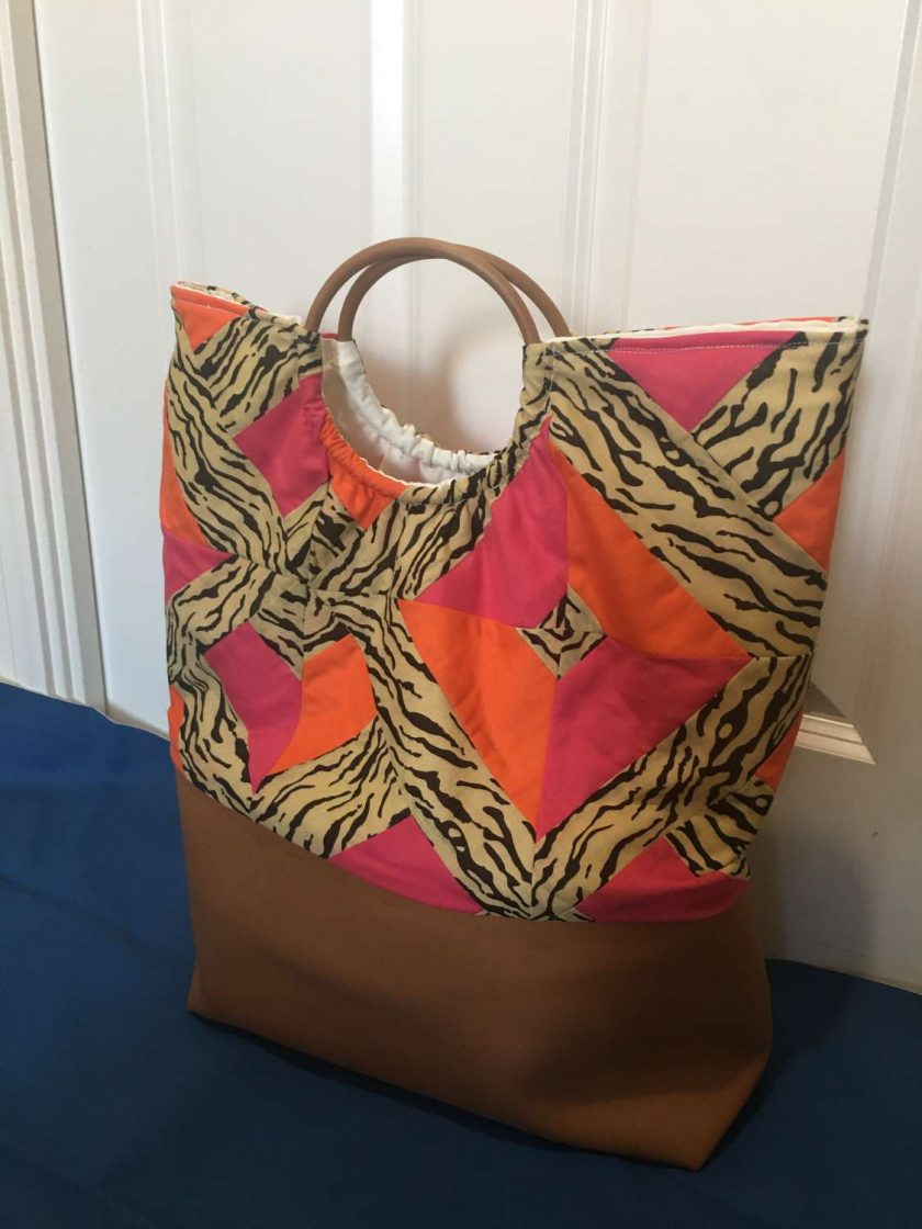 Faux leather patchwork bag 1