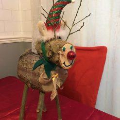 Log Reindeer with Hat 1