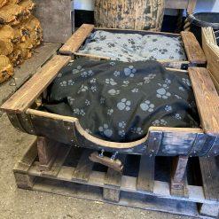 Oak Barrel Dog Bed