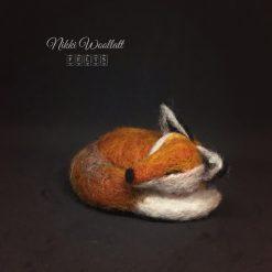 Sleepy Fox needle felted sculpture