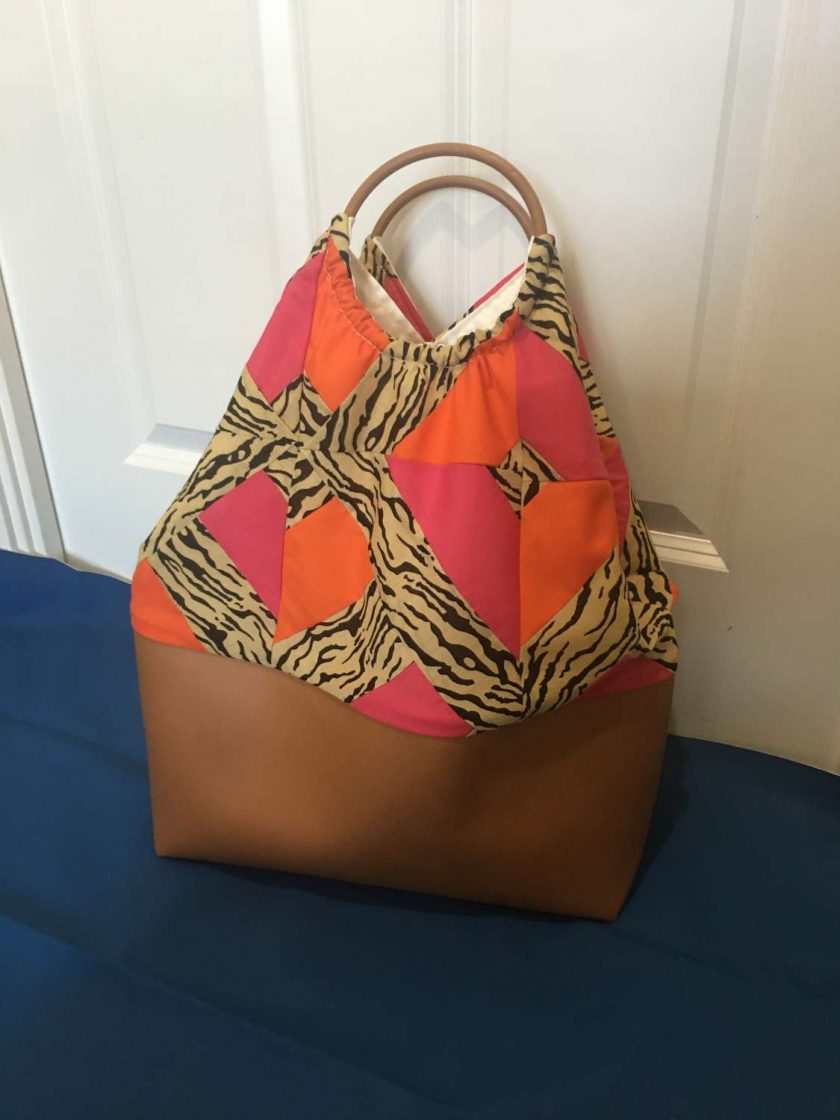 Faux leather patchwork bag 3