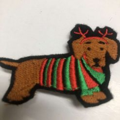 Dachshund daxie funny Christmas brooch. Embroidered on felt (*50p donated to Edinburgh dog/cat Home)
