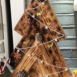 Handmade wooden decorated Christmas Tree