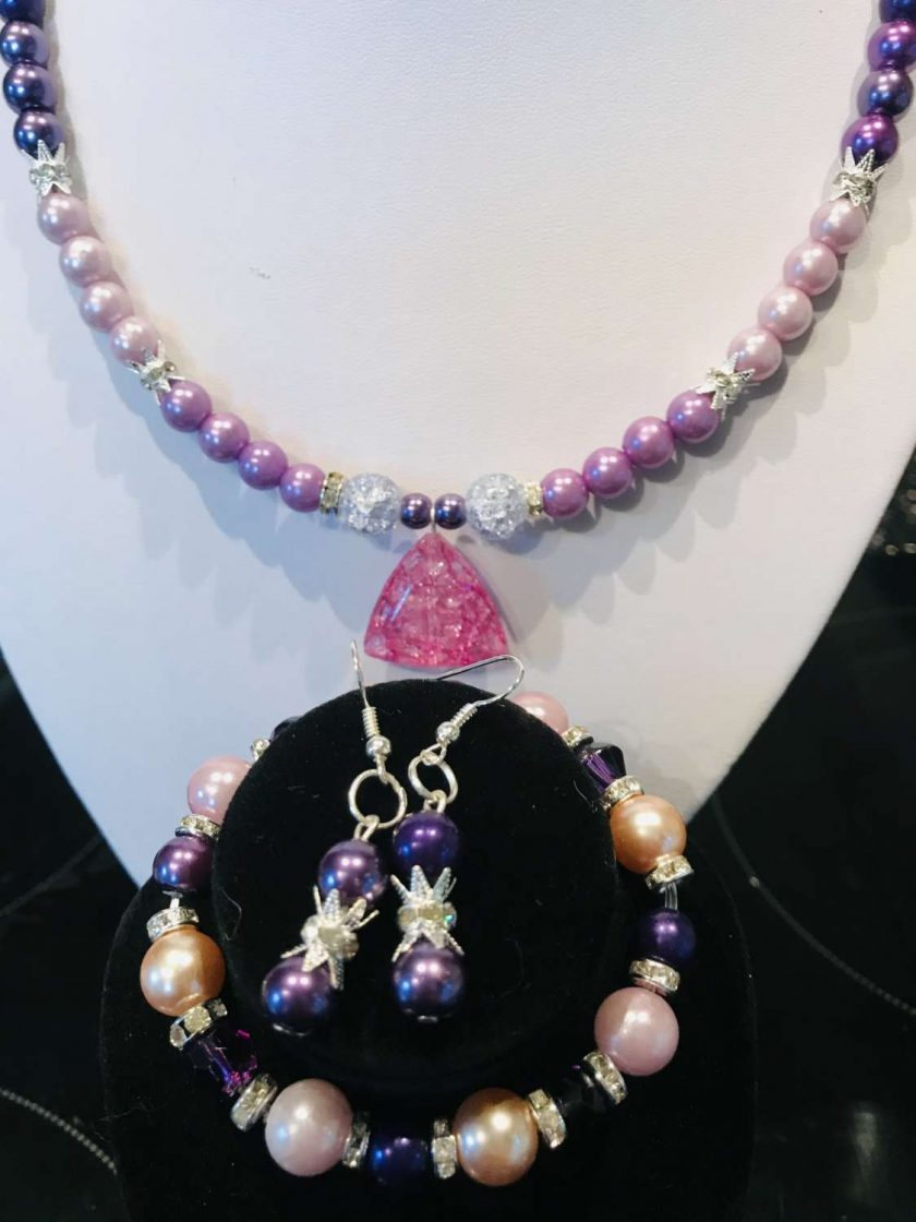 Purple necklace, bracelet and earrings set