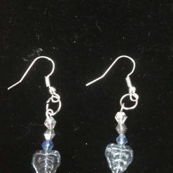 Blue glass leaf earrings