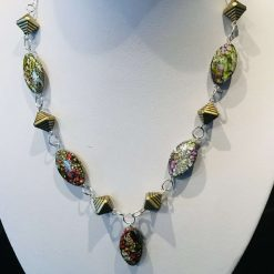 Multi coloured chain link necklace