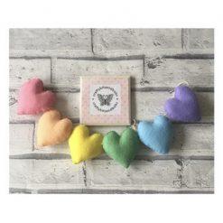 Pastel rainbow heart garland