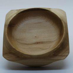 Hand turned square elm bowl
