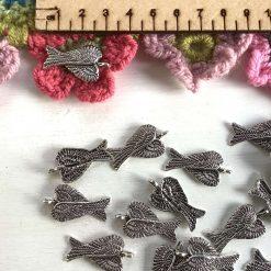 5 x folded angel wings Tibetan silver charms 3cm 1