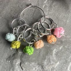 Chinese knot knitting stitch markers, keepers, holders - very lightweight - pastels - closed ring