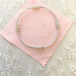Sterling silver stardust and noodle stacking bracelet