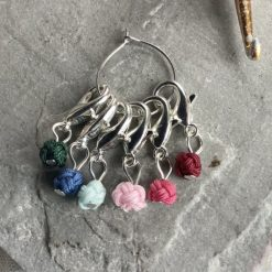 Chinese knot crochet stitch markers, keepers, holders - very lightweight -  darks - lobster clasp