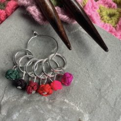 Chinese knot knitting stitch markers, keepers, holders - very lightweight - reds - closed ring