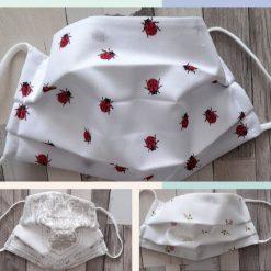 Face masks Bargain bundle of 3 ladies size face masks.   Ladybirds, hearts and rosebuds