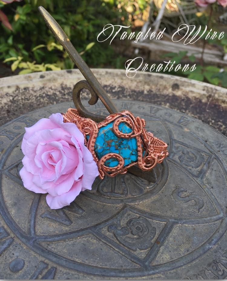 Copper Turquoise Cuff Bracelet 2