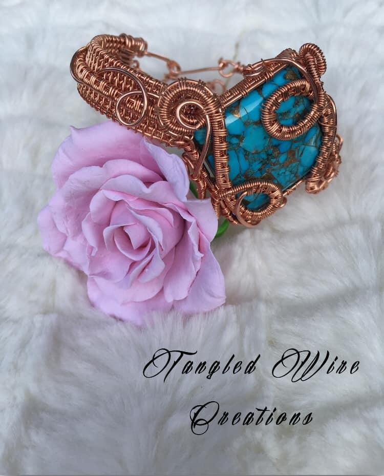 Copper Turquoise Cuff Bracelet 1