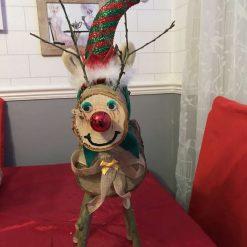 Log Reindeer with Hat