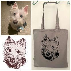 Personalised organic cotton tote bag with image of your own pet with charity donation 1